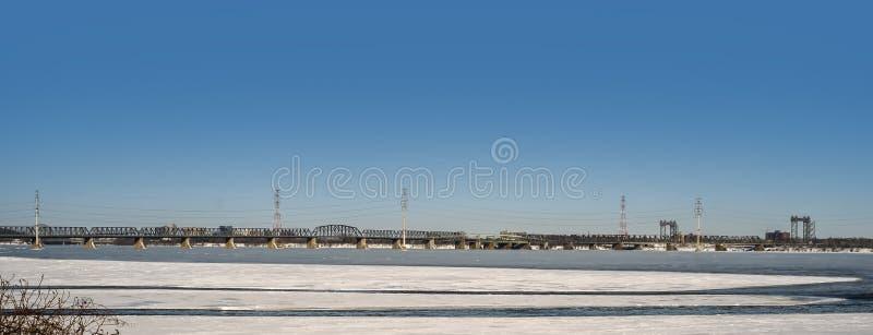 维多利亚桥梁(蒙特利尔) 免版税图库摄影