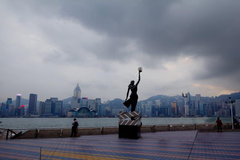 维多利亚港湾在香港 库存照片