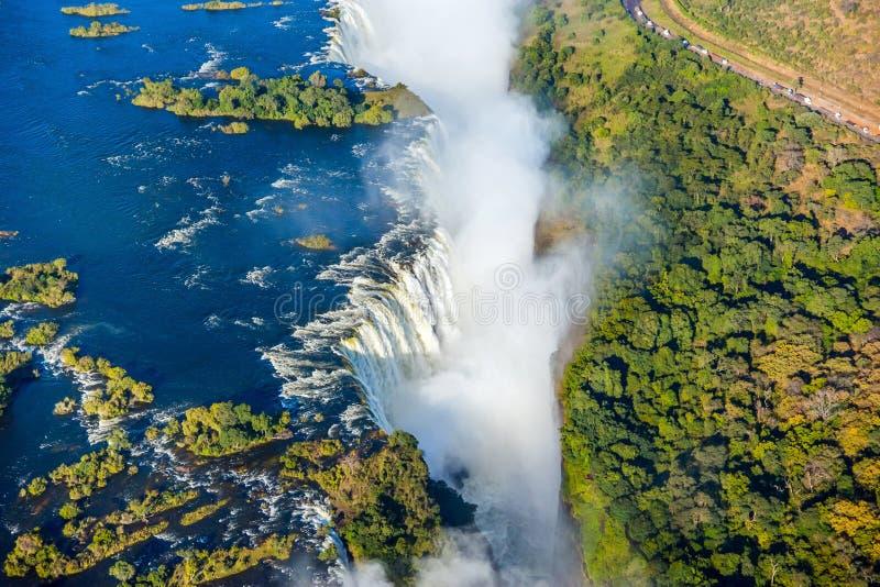 维多利亚瀑布瀑布的俯视图 免版税库存图片