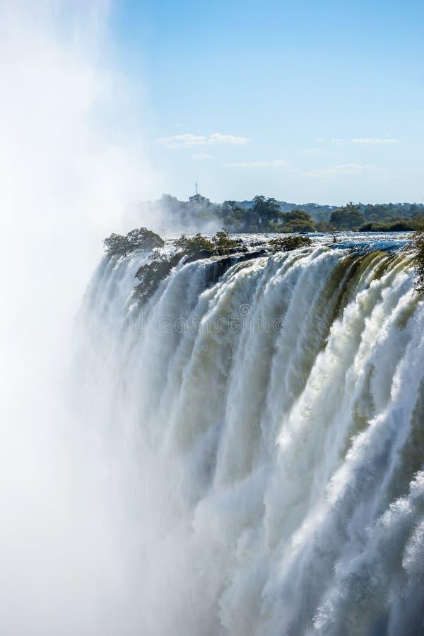 维多利亚瀑布的接近的看法 免版税图库摄影