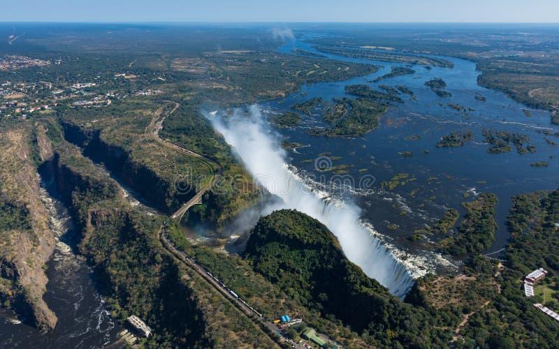 维多利亚瀑布的鸟瞰图从直升机的,津巴布韦 库存图片