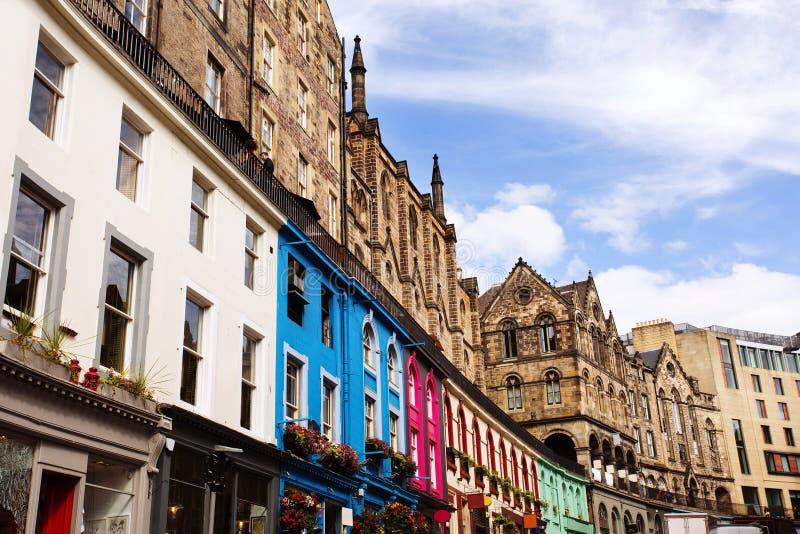 维多利亚街在爱丁堡,苏格兰 免版税图库摄影