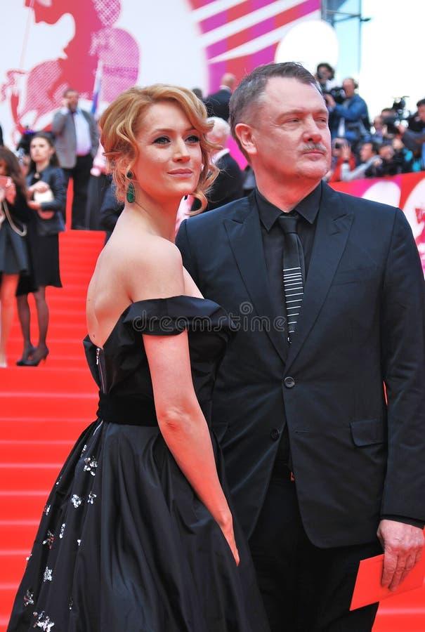 维多利亚Isakova和尤里莫罗兹在XXXVI莫斯科国际影片竞赛 免版税库存图片