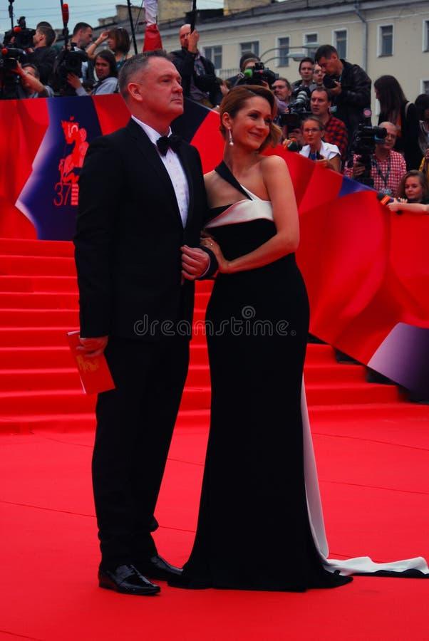 维多利亚Isakova和尤里莫罗兹在XXXVI莫斯科国际影片竞赛 库存照片