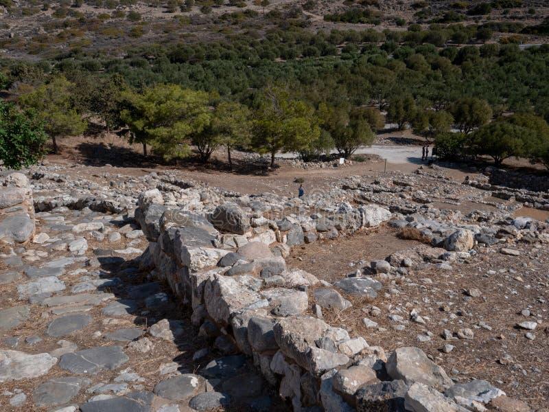 多利安人的城邦,NE克利特古老遗骸拉托河的 库存照片