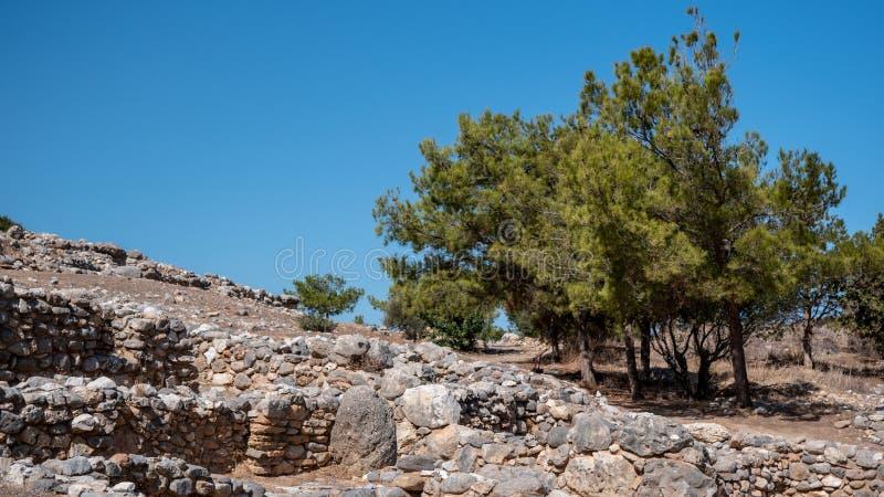 多利安人的城邦,NE克利特古老遗骸拉托河的 图库摄影