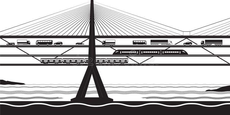 多功能运输桥梁穿过河 皇族释放例证