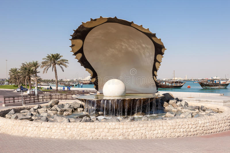 多哈喷泉珍珠卡塔尔 免版税库存照片