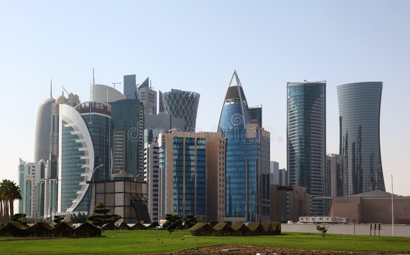 多哈地平线,卡塔尔 库存照片
