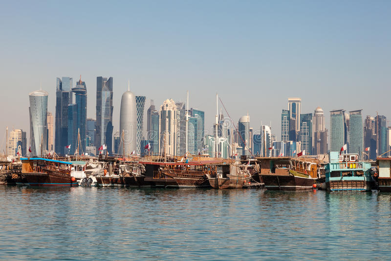 多哈市地平线,卡塔尔 免版税库存照片