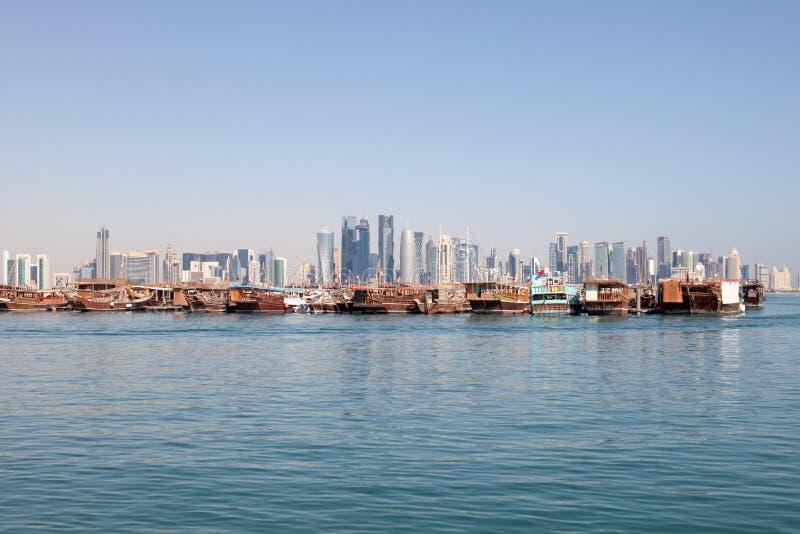 多哈市地平线,卡塔尔 库存图片