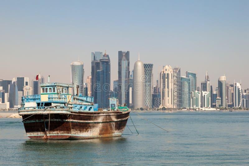 多哈市地平线,卡塔尔 图库摄影