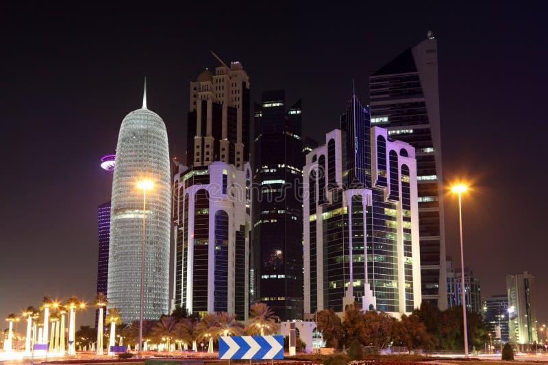 多哈街市在晚上。卡塔尔 免版税图库摄影