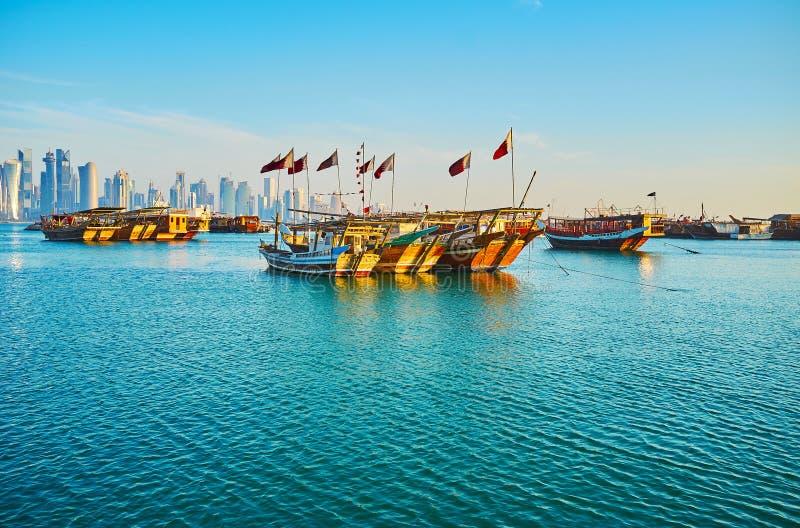 多哈,卡塔尔海边散步  免版税库存图片