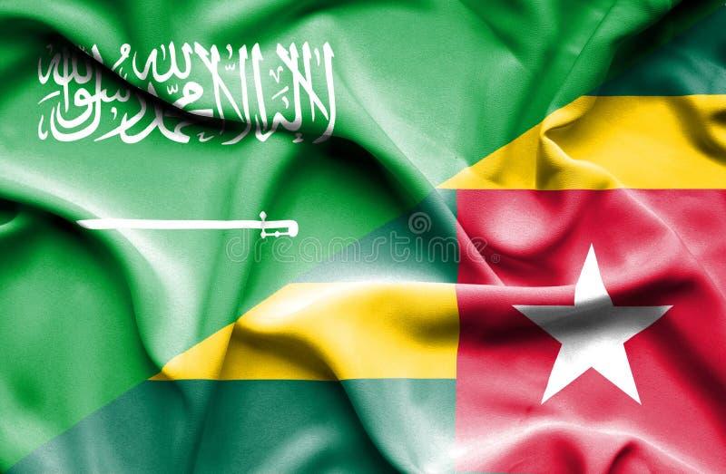 多哥和沙特阿拉伯的挥动的旗子 皇族释放例证