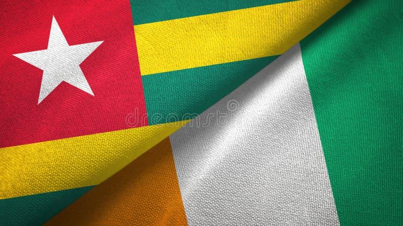 多哥和科特迪瓦象牙海岸两旗子织物纹理 皇族释放例证