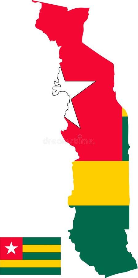 多哥的传染媒介地图有旗子的 被隔绝的,白色背景 免版税库存图片
