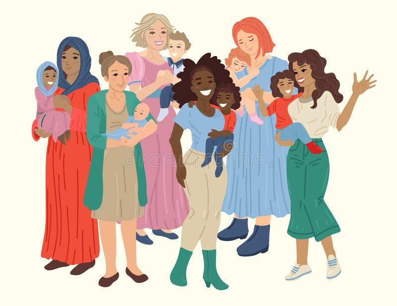 多国快乐母亲团体抱着孩子 矢量插图 库存图片