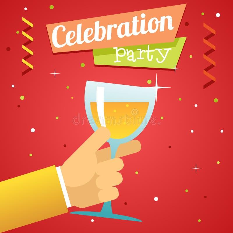 多士承诺庆祝成功繁荣标志手举行玻璃饮料象平的设计模板传染媒介例证 皇族释放例证