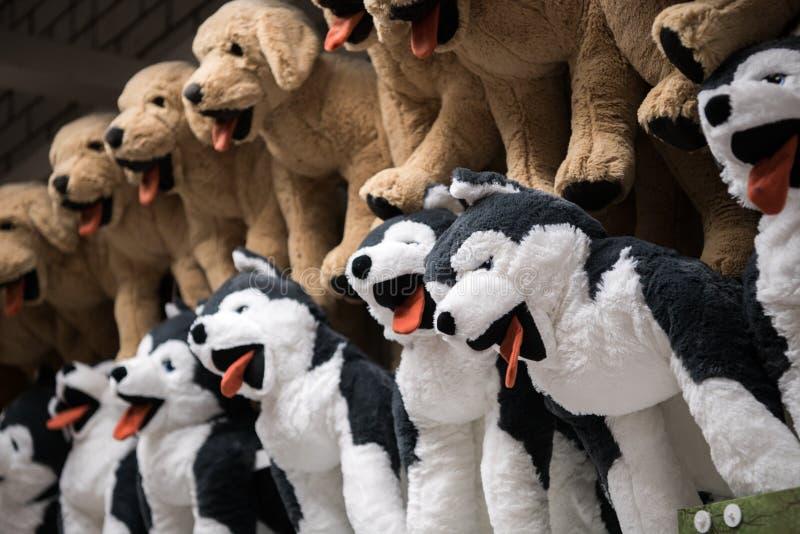 多壳的狗爱拥抱软的玩具从孩子的购物在礼品店的待售 免版税库存照片