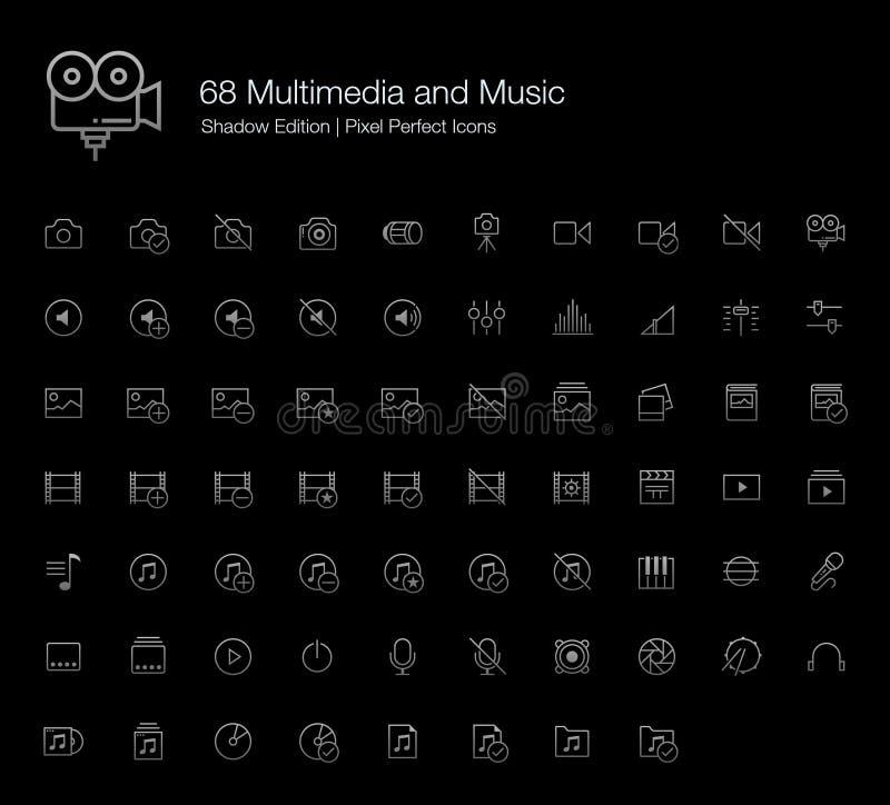 多媒体和音乐为黑背景设置的映象点象 向量例证
