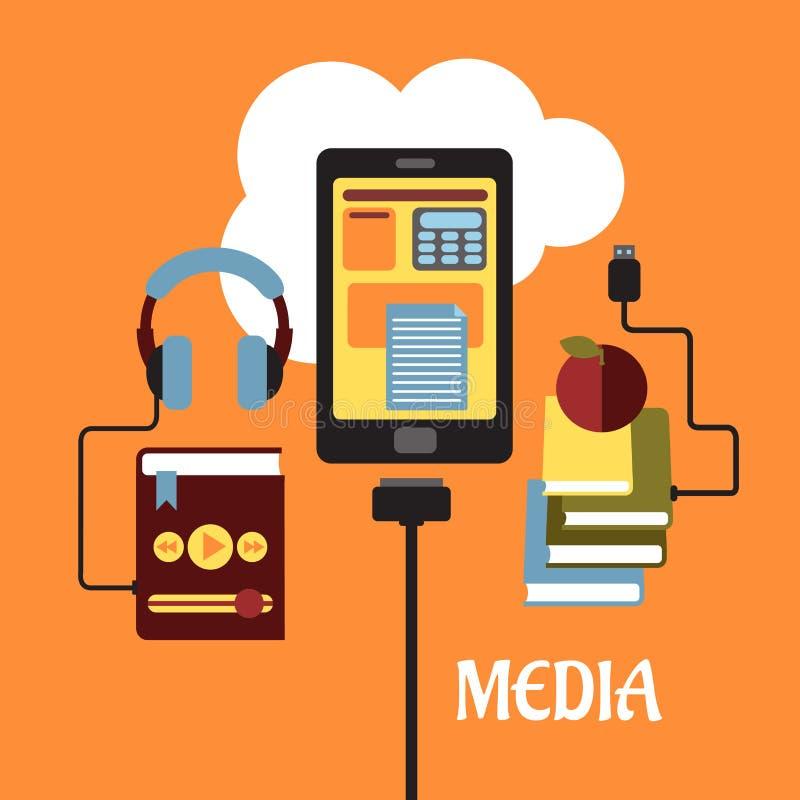 多媒体平的概念 向量例证