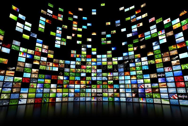 多媒体录影和图象墙壁 库存例证
