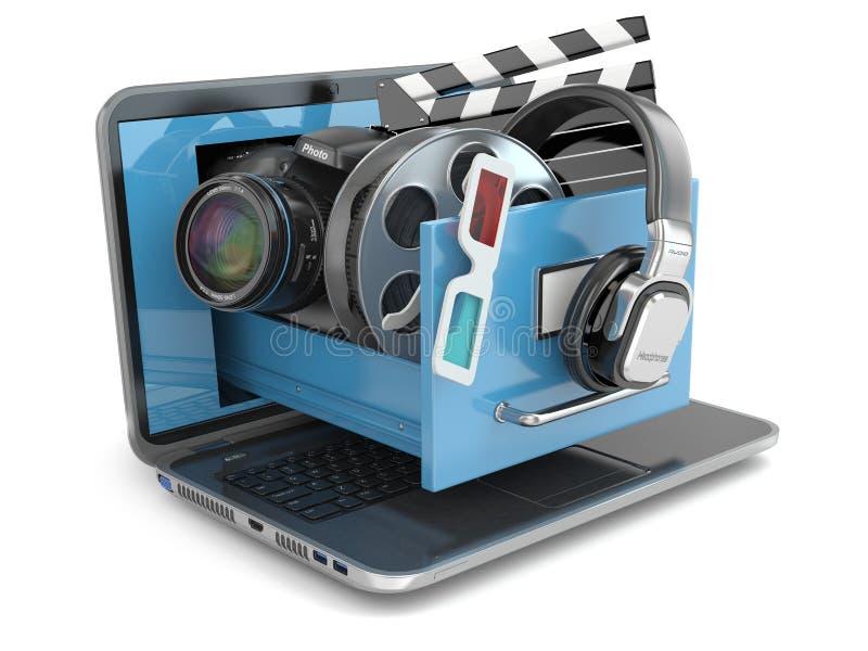 多媒体概念 膝上型计算机、照相机,耳机和录影attrib 库存例证