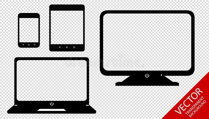 多媒体设置了智能手机,片剂,膝上型计算机,透明的屏幕- 库存例证
