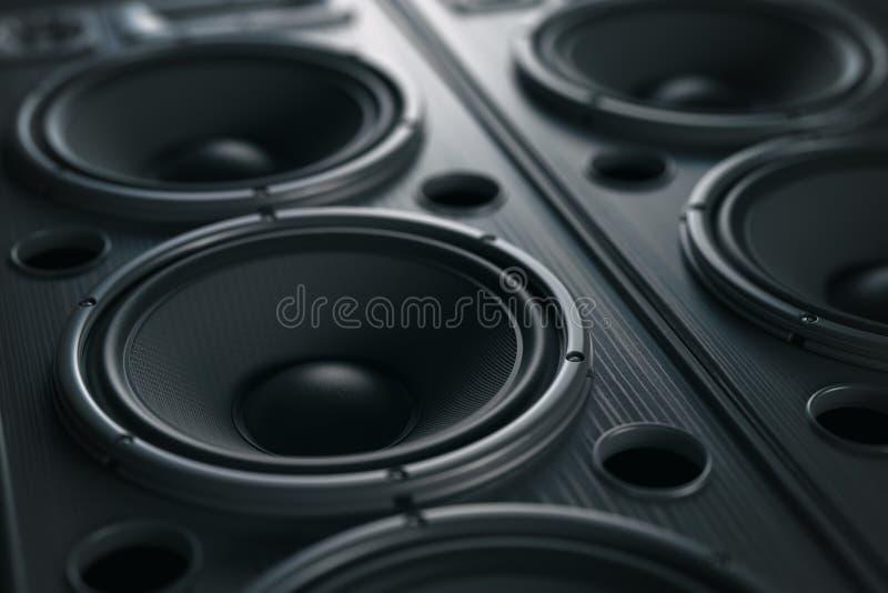 多媒体音响合理的扬声器系统 音乐接近的黑色 库存例证