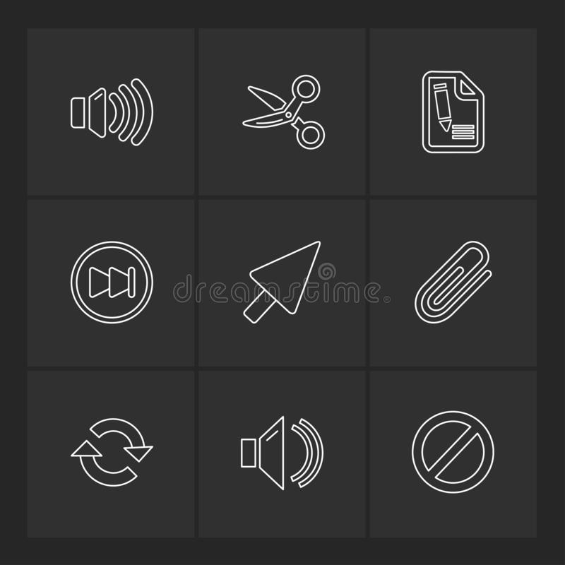 多媒体,声音,按钮, eps象设置了传染媒介 向量例证