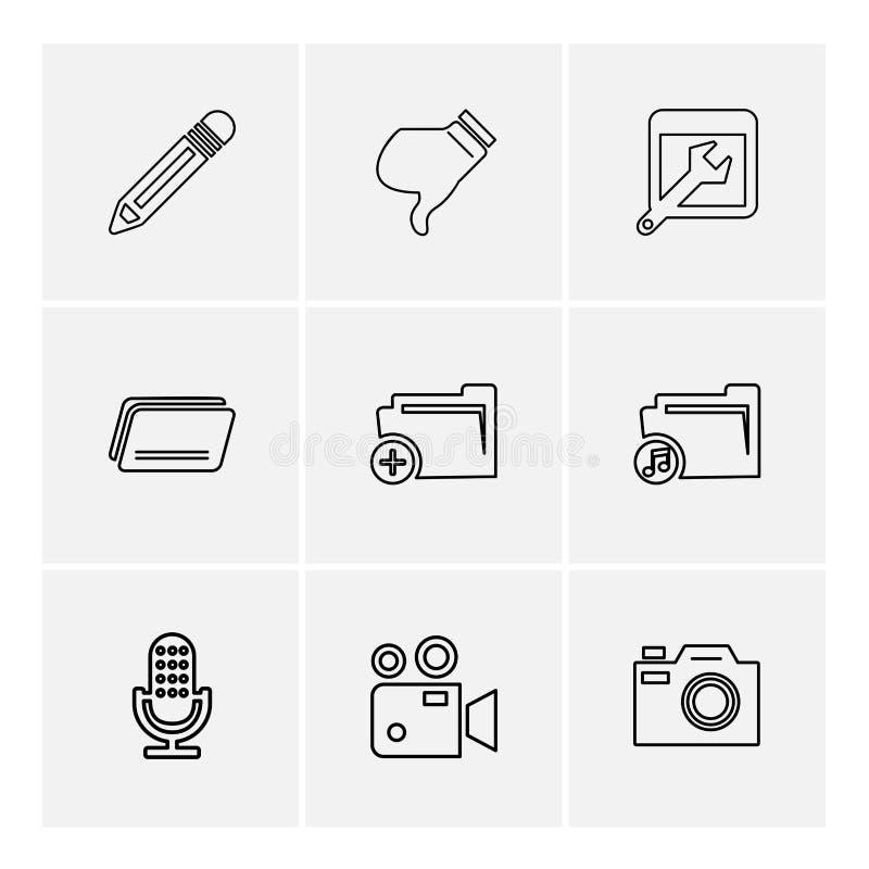 多媒体,照相机,用户界面,文件夹,目录, eps 库存例证