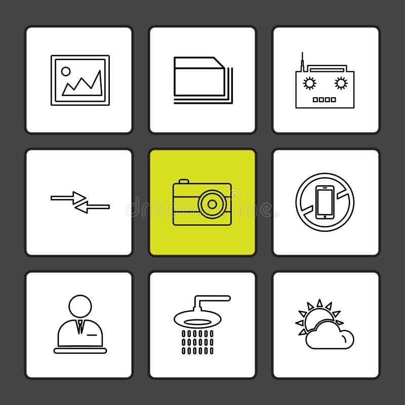 多媒体,照相机,用户界面,文件夹,目录,eps象集合传染媒介 库存例证