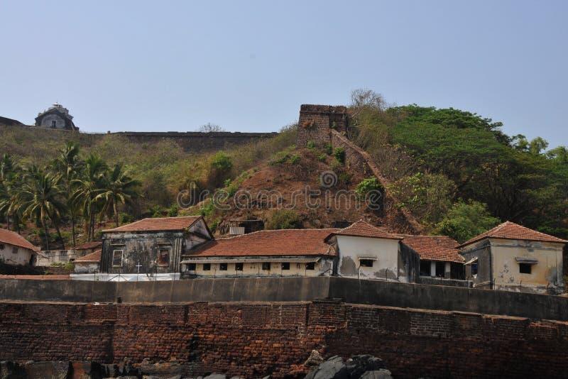 多孔的监狱在海在果阿,印度 免版税库存图片