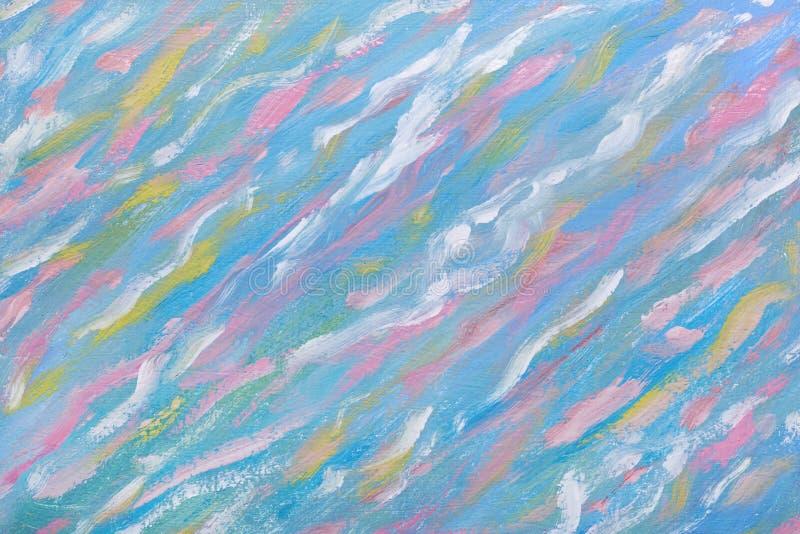 多孔黏土更正高绘画photoshop非常质量扫描水彩 在油帆布的被提取的波浪 水抽象 艺术作品 一有天才绘的美好的画每 库存例证