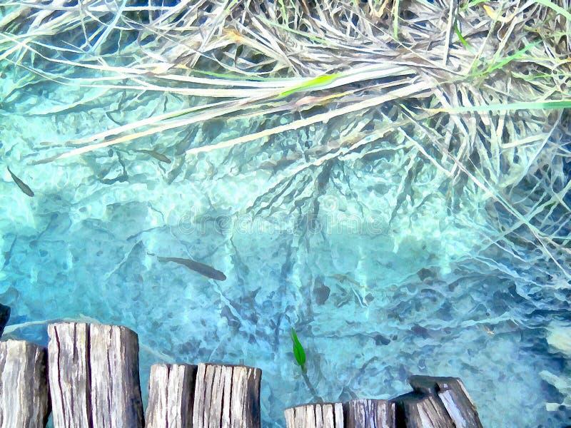 多孔黏土更正高绘画photoshop非常质量扫描水彩 小鱼在山小河河 皇族释放例证