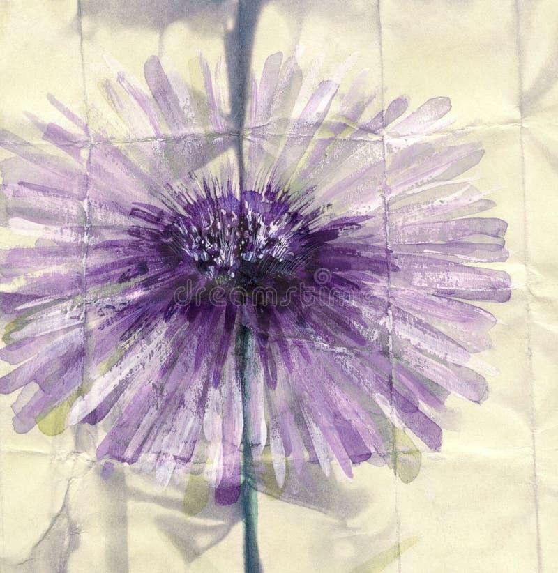 多孔黏土更正高绘画photoshop非常质量扫描水彩 抽象花紫罗兰 库存例证