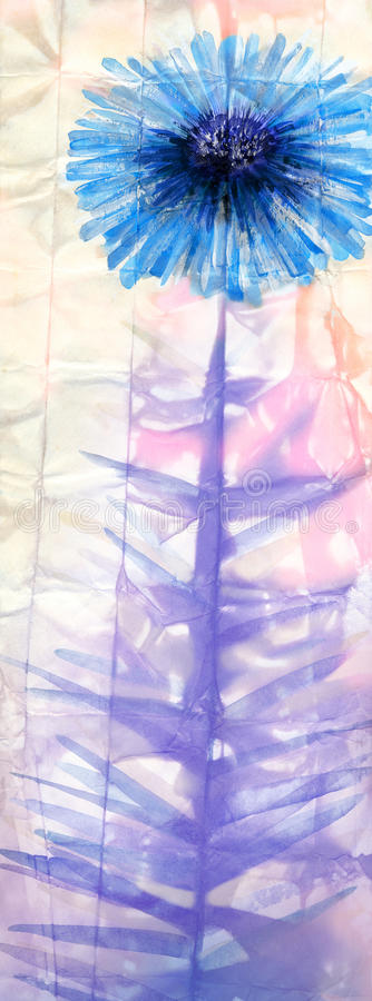 多孔黏土更正高绘画photoshop非常质量扫描水彩 提取蓝色花 库存例证