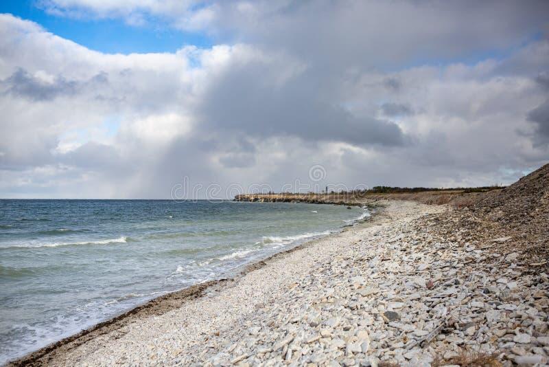多岩石的海滩在Pakri海岛,爱沙尼亚 免版税库存照片