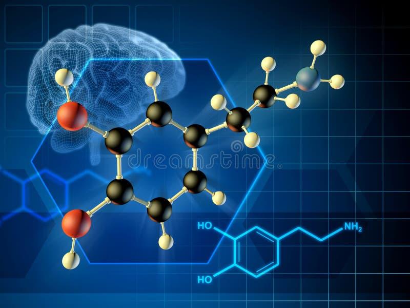 多巴胺分子 皇族释放例证