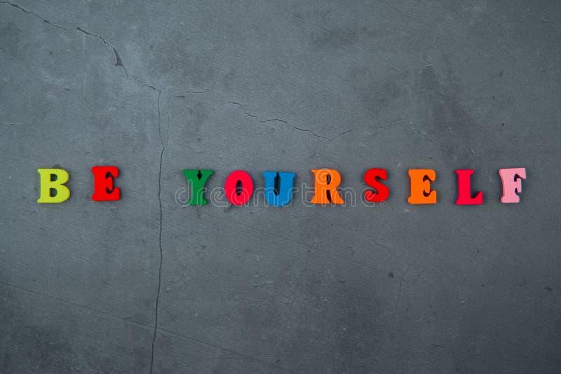 多彩多姿是你自己词由木信件做成在灰色涂灰泥的墙壁背景 库存图片