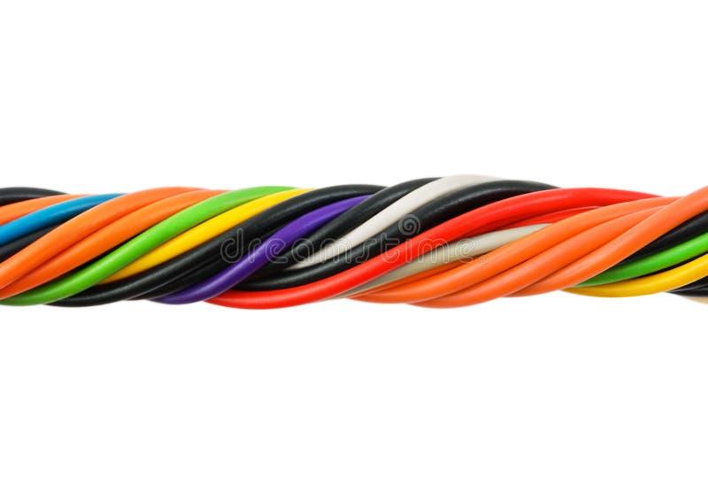 多彩多姿电缆的计算机 免版税库存照片
