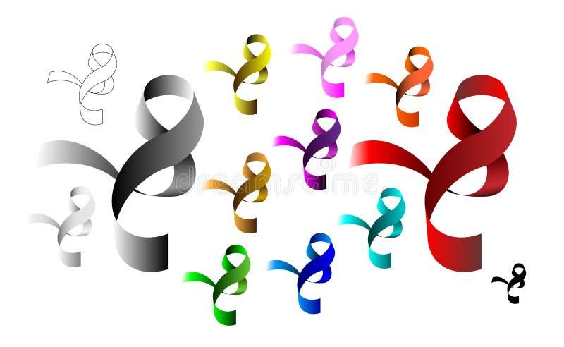 多彩多姿的丝带标志象 知名度乳腺癌做桃红色丝带玫瑰符号 圆的小孔,耳朵,圈 也corel凹道例证向量 皇族释放例证