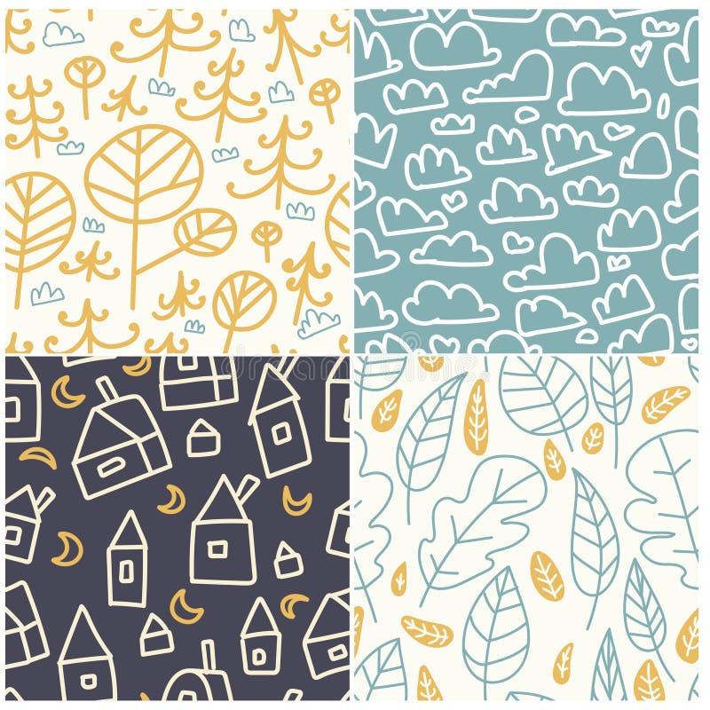 多彩多姿的乐趣无缝的样式 明亮和滑稽的背景 抽象无缝的纹理可以为纺织品和织品使用 Patt 向量例证