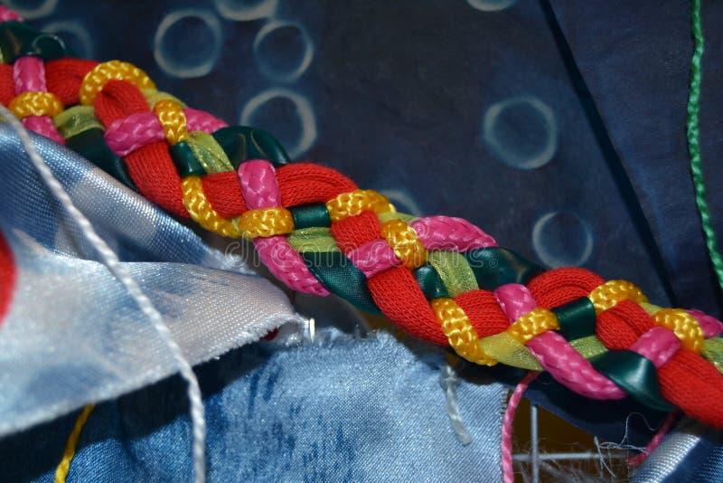 多彩多姿的五条子线褶有织地不很细背景 免版税图库摄影