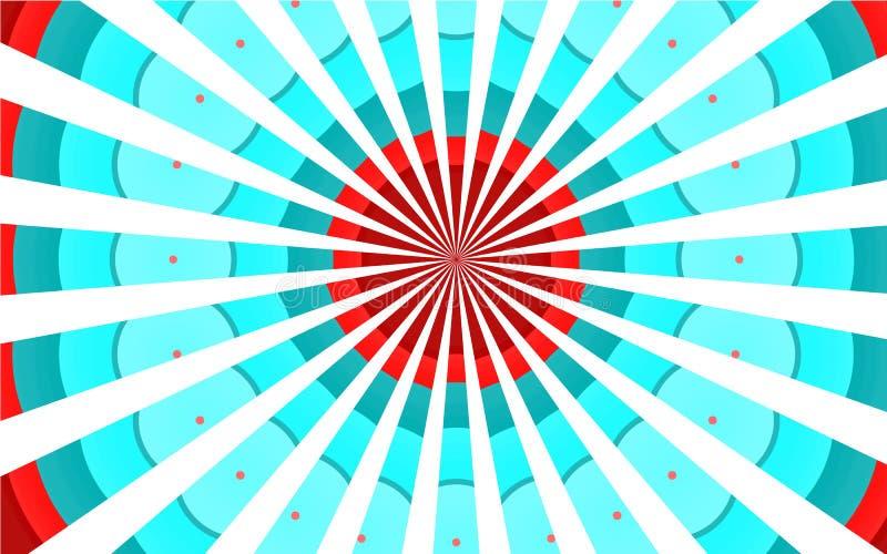 多彩多姿的五颜六色的减速火箭的葡萄酒老美好的美好的杂色的杂色的蓝色红色白色光芒,通报覆盖背景 向量例证