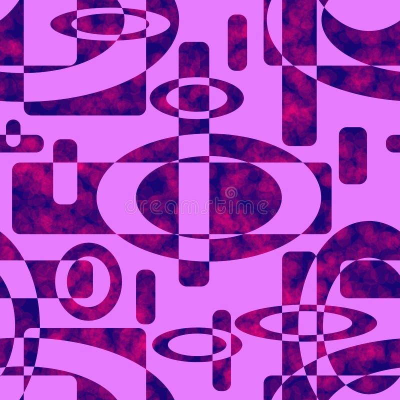 多彩多姿的几何元素的无缝的样式 与桃红色被弄脏的斑点的蓝色形状 库存例证