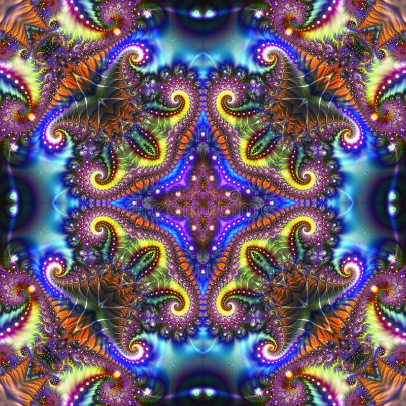 多彩多姿的分数维形状创造性的抽象背景与照明的在蓝色背景 皇族释放例证