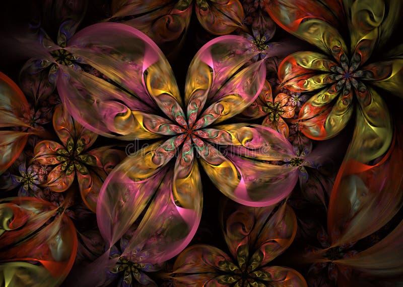 多彩多姿的动力学和流动的自然形式 摘要开花分数维 皇族释放例证