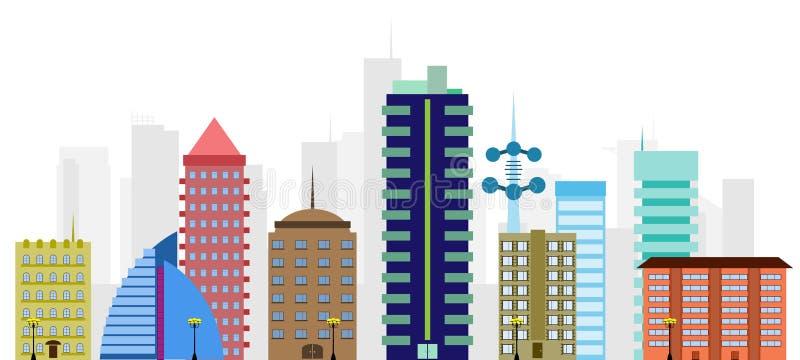多彩多姿的向量城市 库存例证
